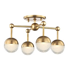 Hudson Valley Lighting Boca Aged Brass LED Semi-Flushmount Light