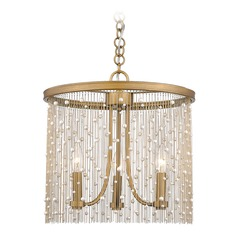 Marilyn PRL 3 Light Pendant in Peruvian Gold with Pearl Strands