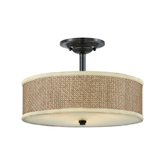 Semi-Flushmount Light with Brown Tones Wicker Shade in Mystic Black