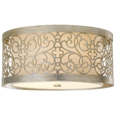 Flushmount Light with White Shade in Silver Leaf Patina Finish