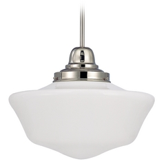 Design Classics Lighting 16-Inch Schoolhouse Pendant Light in Polished Nickel Finish FB6-15 / GA16