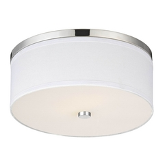 Polished Chrome Ceiling Light with White Drum Shade