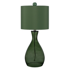 Table Lamp with Green Shade in Green Finish