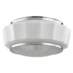 Odessa 3 Light Flushmount Light Drum Shade - Polished Nickel