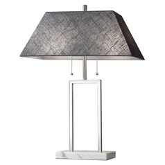 Adesso Home Chambers Brushed Steel Table Lamp with Rectangle Shade