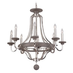 Craftmade 8-Light Chandelier in Polished Nickel / Greywood Finish