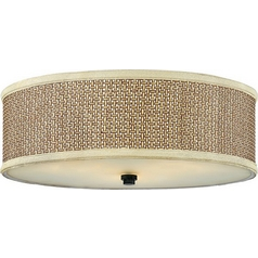 Modern Flushmount Light with Brown Tones Wicker Shade in Mystic Black