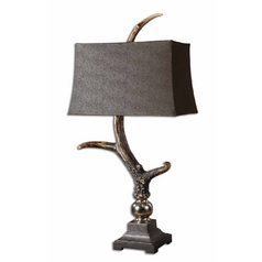 Table Lamp with Black Shade in Burnished Ivory Finish