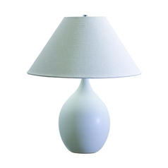 Table Lamp with White Shade in White Matte Finish