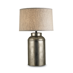 Table Lamp with Beige / Cream Shade in Antique Nickel Finish