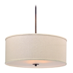 Design Classics Lighting Large Bronze Drum Pendant Light with Cream Shade DCL 6528-604 SH7518  KIT