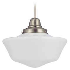 16-Inch Schoolhouse Pendant Light in Satin Nickel Finish