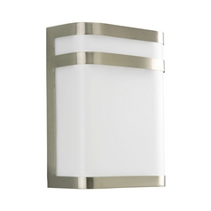 Progress Modern Outdoor Wall Light with White in Brushed Nickel Finish