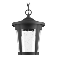 Seeded Glass LED Outdoor Hanging Light Black Progress Lighting