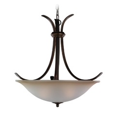 Pendant Light with Beige / Cream Glass in Russet Bronze Finish