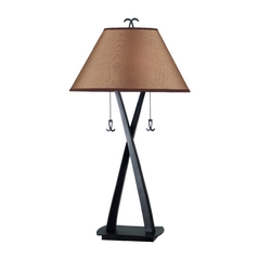 Table Lamp with Brown Shades in Oil Rubbed Bronze Finish