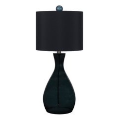 Table Lamp with Black Shade in Smoke Finish