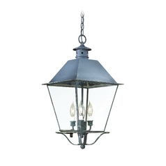 Troy Lighting Outdoor Hanging Light with Clear Glass in Natural Aged Brass Finish FCD9139NAB