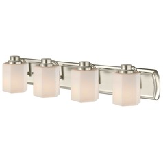 4-Light Bathroom Light in Satin Nickel with Hexagon Glass