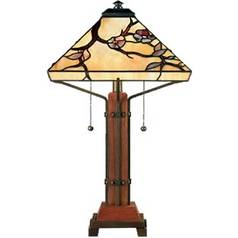 Table Lamp with Art Glass in Multi Finish