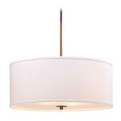 Large Bronze Drum Pendant Light with White Shade