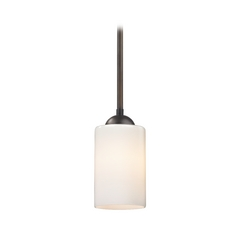 Mini-Pendant Light with Opal White Cylinder Glass Shade in Bronze