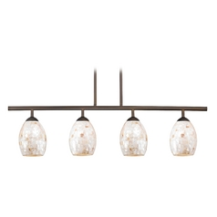Linear Pendant Light with 4-Lights and Mosaic Glass in Bronze Finish