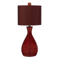 Table Lamp with Red Shade in Red Finish