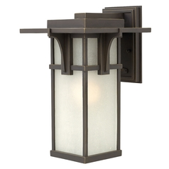 Etched Seeded Glass Outdoor Wall Light Oil Rubbed Bronze Hinkley Lighting