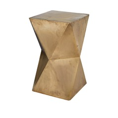 Faceted Stool With Brass Cladding