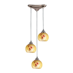 Multi-Light Pendant Light with Yellow Glass and 3-Lights