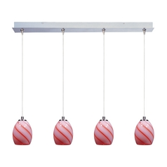 Modern Low Voltage Multi-Light Pendant Light with Multi-Color Glass and 4-Lights