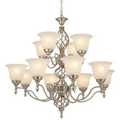 Satin Nickel Chandelier with 12 Lights