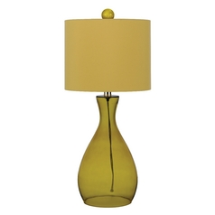 Table Lamp with Yellow Shade in Sugar Cane Finish