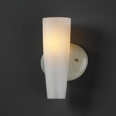 Sconce Wall Light with White Glass in Celadon Green Crackle Finish