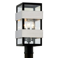 Troy Lighting Dana Point Black with Brushed Stainless Post Light