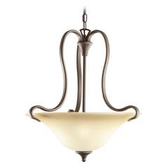 Kichler Pendant Light with Beige / Cream Glass in Olde Bronze Finish