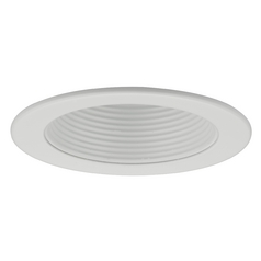 White Stepped Baffle Trim for 4-Inch Recessed Cans