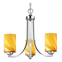 Chrome Mini-Chandelier with Butterscotch Art Glass