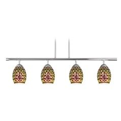 4-Light Linear Pendant Light with 3D Rings Glass in Chrome Finish