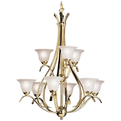 Kichler Lighting Kichler Chandelier with White Glass in Polished Brass Finish 2520PB