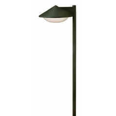 Modern Path Light with White Glass in Bronze Finish