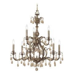Crystorama Lighting Dawson Antique Brass Crystal Chandelier