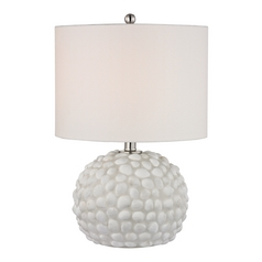 Accent Lamp with White Shades in White Shell Finish