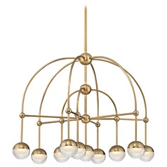 Mid-Century Modern Chandelier LED 10-Lt Brass by Hudson Valley