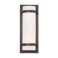 Sconce Wall Light with White Glass in Smoked Iron Finish