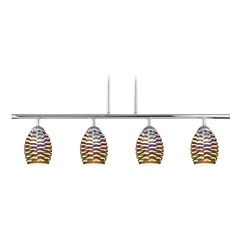 4-Light Linear Pendant Light with 3D Wave Glass in Chrome Finish