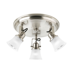 Progress Lighting Directional Spot Light with White Glass in Brushed Nickel Finish P3330-09WB