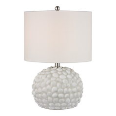 LED Accent Lamp with White Shades in White Shell Finish