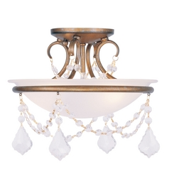 Livex Lighting Chesterfield/pennington Antique Gold Leaf Semi-Flushmount Light